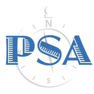 Logo for PSA (Partners for Secular Activism). Blue PSA over a feintly-grey compass.
