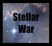 Photo of the cover logo of Richard Carrier's card game Stellar War.